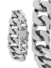 Men's New Yellow/Silver Finish Stainless Steel Cuban Curb Heavy Bracelet 8.5 In.