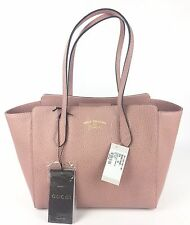 Authentic New Gucci ($1100) Trademark Small Swing Tote in Soft Pink #354408,NWT