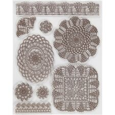 Viva Decor A5 Silicone Stamp Set - Lace Crochet Motif Doilies - Re-Usable Stamps