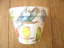 Hand Painted + Decoupaged Flower Pots 11 cm (Terracotta) Budgies and Canaries 1