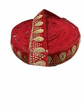 9mtr border lace trim, gold stone n embroidery, floral red velvet base, saree