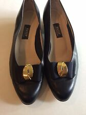 Bally Navy Leather Heels Shoes Logo Bow on Toe Womens US 9 M Preowned pumps vtg