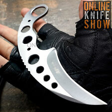 MTECH TACTICAL COMBAT KARAMBIT KNIFE Survival Hunting SILVER Fixed Blade SHEATH!