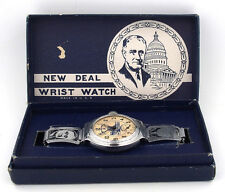 "1935 ""The New Deal"" F.D.R. Wrist Watch by Ingersoll in Original Box"
