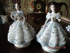 Antique Mueller Volkstedt Dresden Porcelain Lace Figurines Matched Pair-Hallmark