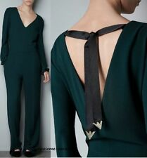 ZARA WOMAN GREEN JUMPSUIT WITH BOW AT THE BACK EMERALD NECK EXTRA SMALL XS NEW