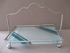 VINTAGE SERVING TRAY ART DECO GLASS and METAL