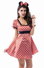 Sexy Womens Mini Mouse Animal Fancy Dress Costume White and Red 8013