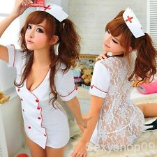 Sexy Nurse Costume Doctor Halloween fany dress Lingerie outfit clubwear cosplay