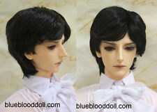 "1/3 bjd 8-9"" doll head jet black synthetic mohair wig luts iplehouse dollfie"