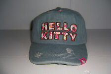 HELLO KITTY WOMENS GIRLS DISTRESSED DENIM BLUE JEAN HAT CAP SIZE ADJUSTABLE NWT!