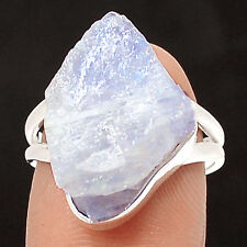 Natural Rainbow Moonstone Rough 925 Sterling Silver Ring Jewelry s.6.5 SR212942