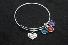 Expandable Wire  BANGLE silver Charm BRACELET Special Daughter  3 color Charm