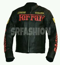 Ferrari Black Genuine Cow Hide Biker Motorbike Leather Jacket All Size Available