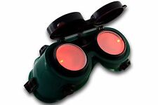 Steampunk Cyber Goth Goggles Green Frame RED LED Light in Lense Halloween Xmas