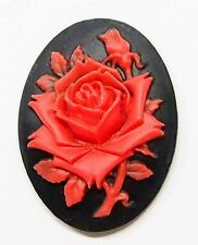 4 of 40x30 mm Red over Black Victorian Single Rose & Bud Cameos 4 Pendant Locket