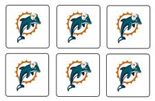 "MIAMI DOLPHINS COASTERS 1/4"" BAR & BEER SET OF 6"