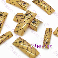 50psc Acrylic False French Nail Art Full Tips  IBN1-0004 Gold Base Black Spider