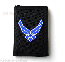 US AIR FORCE WINGS USAF HEAVY DUTY NYLON EMBROIDERED WALLET TRIFOLD