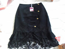 Ladies New with tags Joe Browns black lacy lined goth skirt size 12 great detail