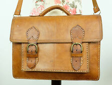 Vintage Classic Tan Brown Leather Satchel Saddle Shoulder Bag Moroccan
