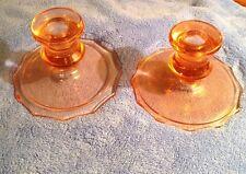 """2 vintage PINK DEPRESSION GLASS 3.75"""" Candlesticks Candle Holders (pr)"""