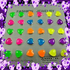 15 PAIR COLORFUL NEON MINI HEART STUD EARRINGS FOR THE PRICE OF ONE!