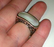 THAILAND STERLING SILVER 925 MOTHER OF PEARL RING - HEART SCROLL MOTIF sz 6-#29