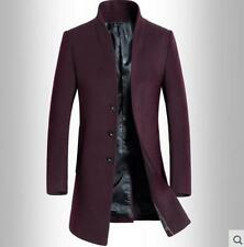 Men Long Coat Wool Trench Single Breasted Slim Fit Peacoat Overcoat Stand Collar