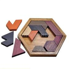 DIY Wooden IQ Game Jigsaw Intelligent Tangram Brain Teaser Puzzle Kids Toys