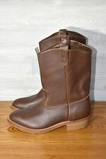 "NEW 11"" HH DOUBLE H BROWN RANCH WELLINGTON LEATHER BOOTS SZ 10.5 4E MADE UN USA"