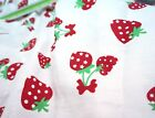 "RED STRAWBERRY WHITE POLISHED COTTON FABRIC 44""W SKIRT DRESS DRAPE TABLECLOTH"