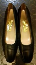 Ferragamo Black Mid Block Heel Ballet Pumps UK5 US 7.5 B