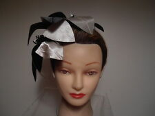 Hat - BLACK /Taupe Satin Fascinator Kentucky Derby Wedding Prom Leaves Headband