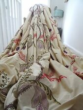 SANDERSON CURTAINS SILK MEREVILLE shabby COTTAGE chic CREWELWORK EMBROIDERY HUGE