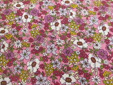 """Pink """"Tokyo Blossom"""" Flowers,Floral Printed 100% Cotton Poplin Fabric."""