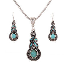 Women Tibet Silver Blue Turquoise Pendant Necklace+Earrings Jewelry Set Gift New