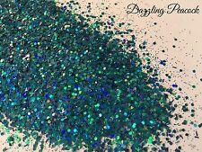 Mixed glitter Gel/acrylic Nail art Blue Holograhic Mix 6g Bag Dazzling Peacock
