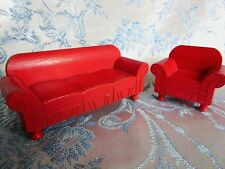 Vintage Dollhouse Wood Furniture Strombecker 3/4 Scale Red Sofa/Couch & Chair