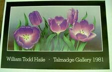 "Vintage poster by ""William Todd Haile"" of Purple Flowers  1981 sale priced"