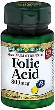 Nature's Bounty Folic Acid 800 mcg Tablets Maximum Strength 250 Tablets