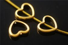 Wholesale 50ps Golden Heart-Shaped Beads Spacer Jewelry Making Charms 11x12.5mm