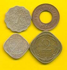 INDIA 1944 George VI { 2 Anna + 1/2 Anna + 1 ANNA + 1 Pice  } Rare 4 Coins SET