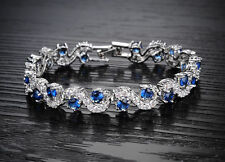 18K White Gold GP Blue Sapphire Swarovski Crystals Bracelet Bangle Luxury New