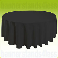 "90"" Round Table Cover Seamless Wedding Banquet Tablecloth - BLACK"