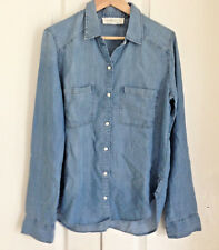 Abercrombie & Fitch Women Shirt M Vintage Blue Wash Denim Long Sleeve Chambray