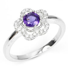 NATURAL PURPLE AMETHYST &CZ ACCENTS 14K ON 925 SILVER SOLITAIRE FLOWER RING SZ 7