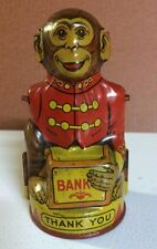 VINTAGE J. CHEIN & Co.  Mechanical Circus  MONKEY COIN BANK, Tin Lithograph