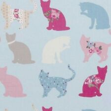 Clarke and Clarke Felix Cats Sky Designer Curtain Upholstery Fabric