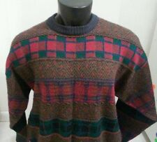 Mens Italian Sweater Company Crew Neck Cosby Style Long Sleeve Sweater Large